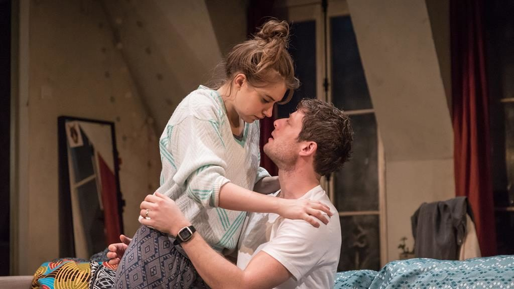 Hidden agendas: Imogen Poots and James Norton play American couple Abby and Zach who live in Paris PICTURE: MARC BRENNER