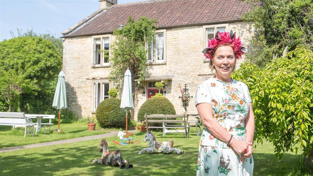 'A different world': Caron Cooper at Fosse Farmhouse, which inspired the series Kinmoza (below) PICTURES: SWNS