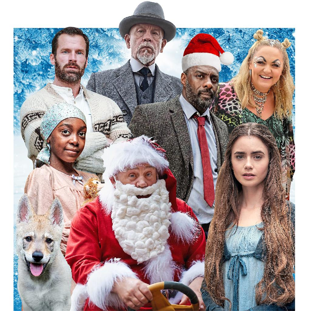 Clockwise from top left: Black Lake, The ABC Murders, Idris Elba in Luther, Terri King on King Gary, Lily Collins in Les Misérables, Call The Midwife, The Snow Wolf: A Winter's Tale, The Midnight Gang