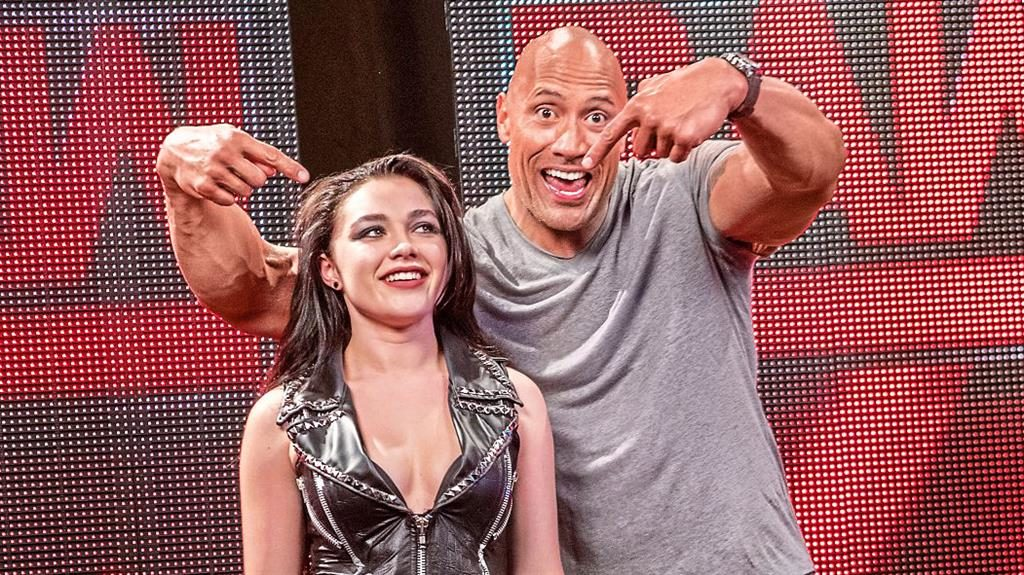 WrestleMania: Florence Pugh with The Rock