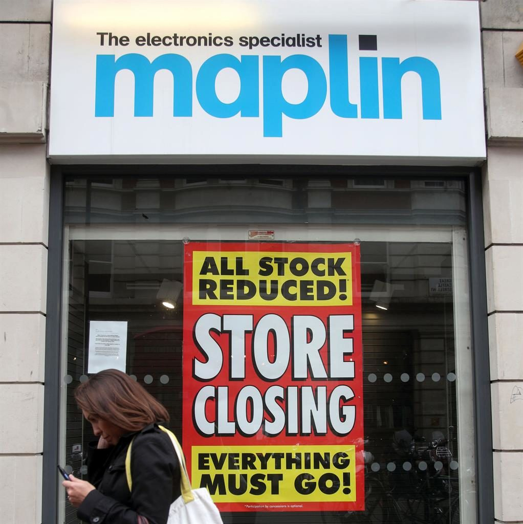 Sign of times: Maplin had to shut its 217 stores but has returned with a website PICTURE: PA