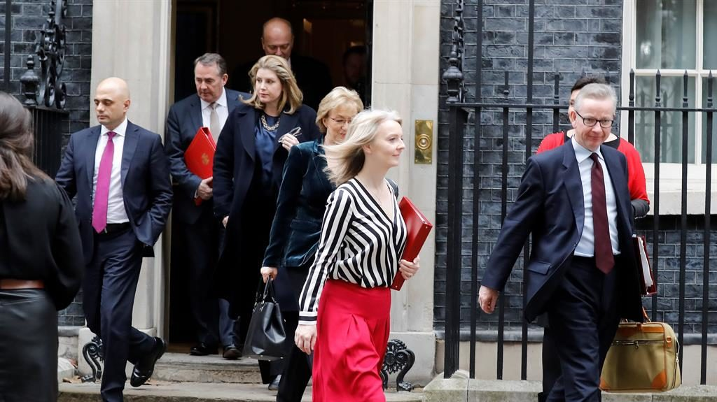 New day, same old crisis: Cabinet ministers including Liz Truss (centre) leave No.10 after yet another Brexit meeting PICTURE: GETTY