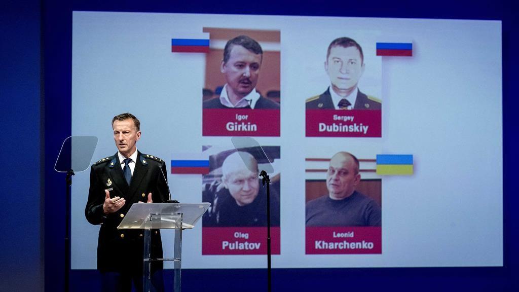 Justice: Dutch National Police chief Wilbert Paulissen identifies the suspects Igor Girkin, Oleg Pulatov, Sergey Dubinskiy, Leonid Kharchenko PICTURE: EPA