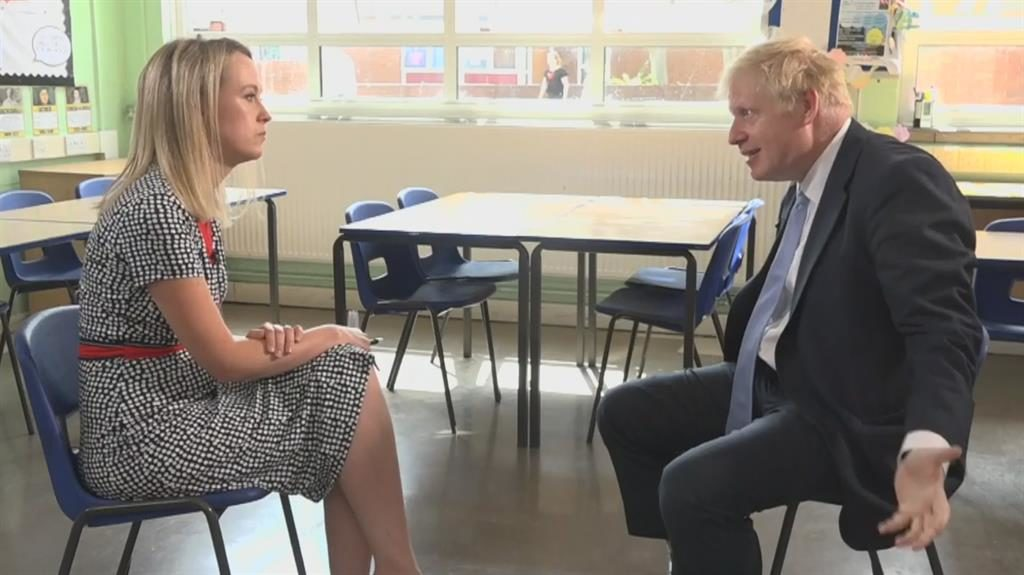 Maxing headroom: Boris Johnson outlines his spending plans to Sky News' Sophy Ridge on Sunday PICTURES: SKY/BBC/GETTY