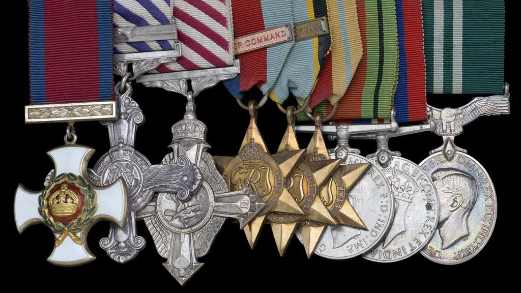 Hero: Wg Cdr David Dennis's medals are being sold at auction PICTURE: BPNS