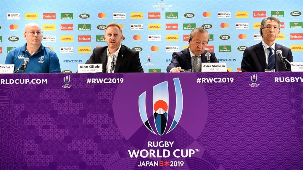 Decision: Tournament director Alan Gilpin (centre left) and Japan Rugby CEO Akira Shimazu (centre right) speak to the media PICTURE: AFP