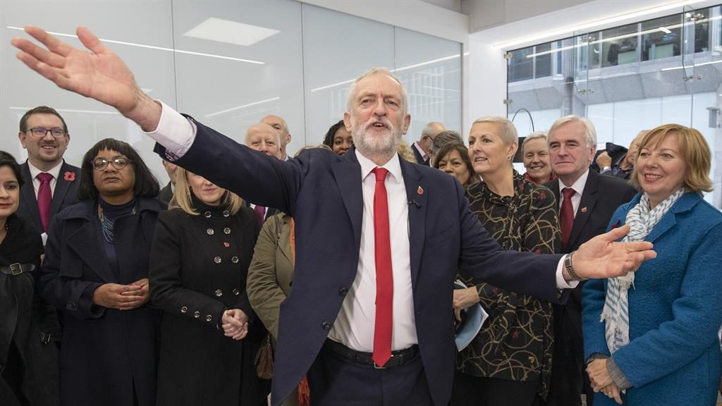 Bring it on: Jeremy Corbyn surrounded by his shadow cabinet announces that the Labour Party will back an election before Christmas PICTURE: LNP