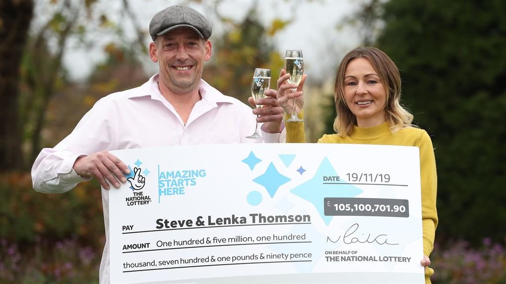 Big winners: Steve and Lenka Thomson's £105million win is the ninth largest UK jackpot PICTURES: PA