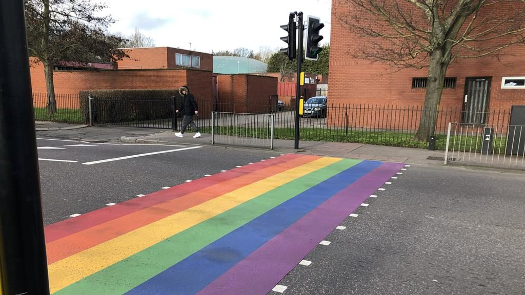 True colours: The rainbow crossing at Woodside school in London brought a barrage of abuse from trolls PICTURE: SWNS