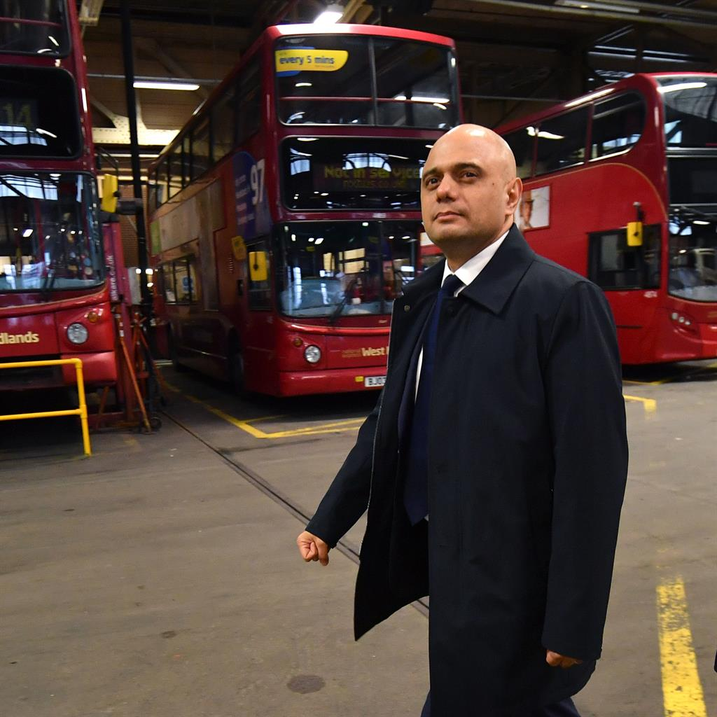 Bus station visit: Sajid Javid PICTURE: PA