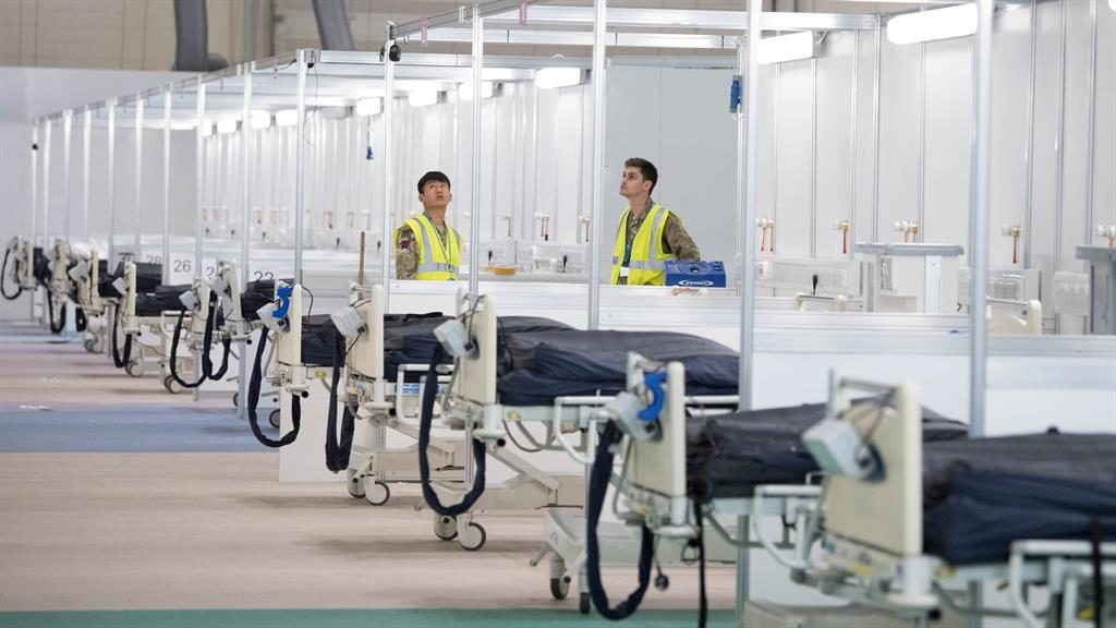 New build: The temporary NHS Nightingale Hospital at the ExCel London centre is being set up PICTURE: PA