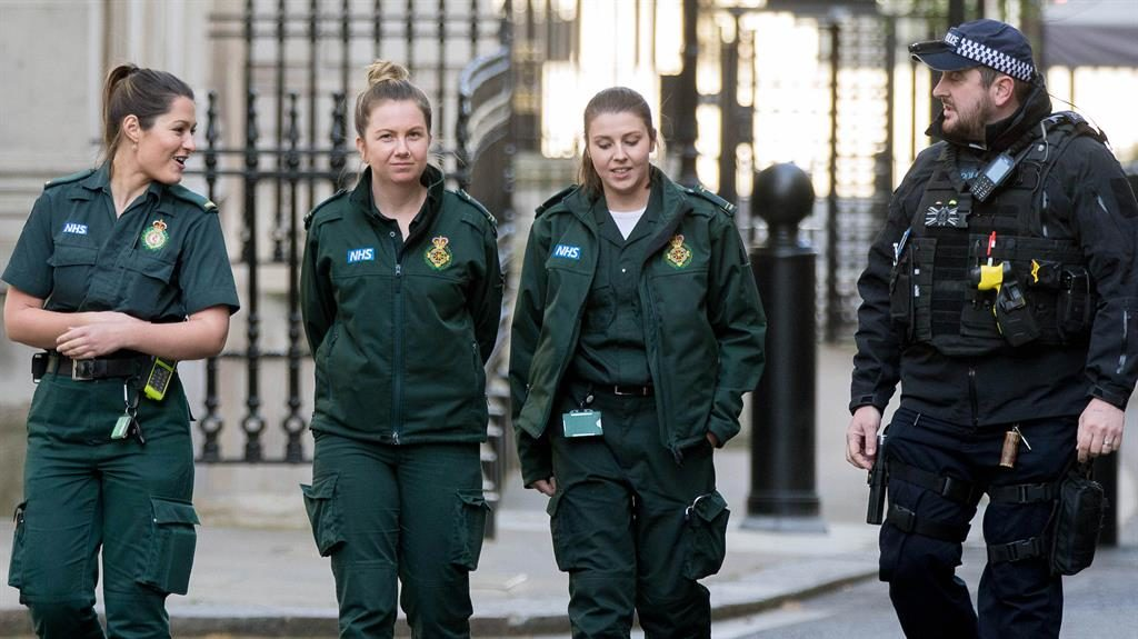 Down-ing time: London ambulance staff on a well-earned visit to No.10 PICTURE: I-IMAGES