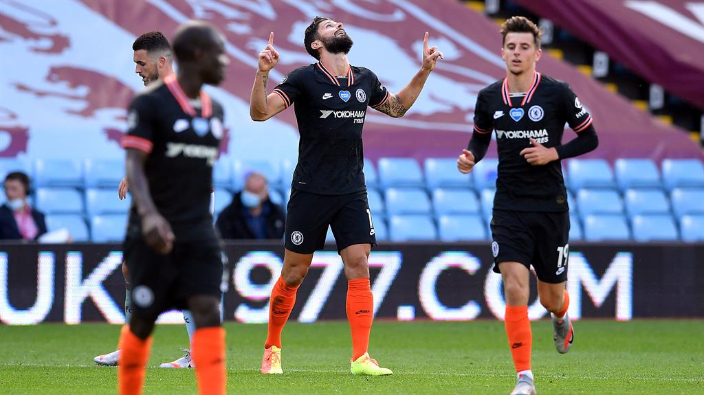 Sky's the limit: Giroud celebrates after scoring Chelsea's winner PICTURE: PA