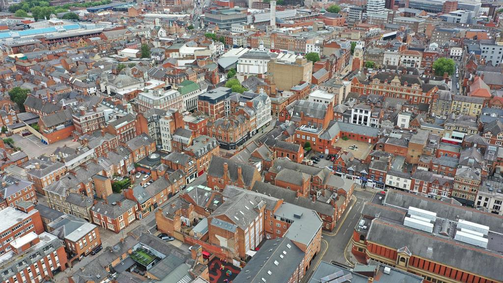 Shuttered up again: An aerial view of Leicester city centre PICTURE: PA