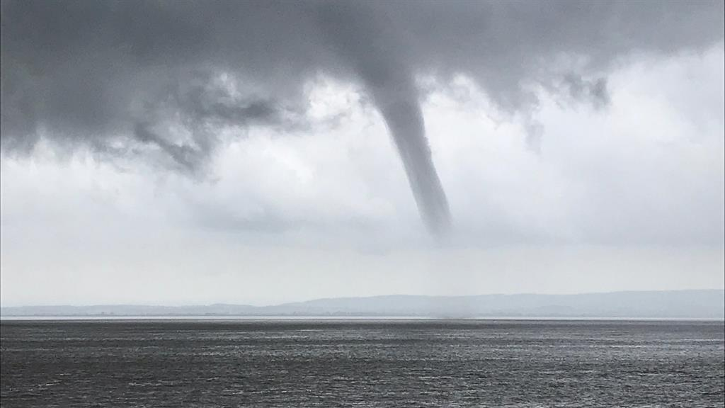 Funnel vision: A waterspout over the Bristol Channel, off the coast between Clevedon and Portishead, North Somerset PICTURE: WILL TURNER/PA