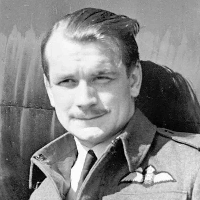 'True professional': John 'Paddy' Hemingway, pictured in 1945, flew Hurricanes for 85 Squadron.