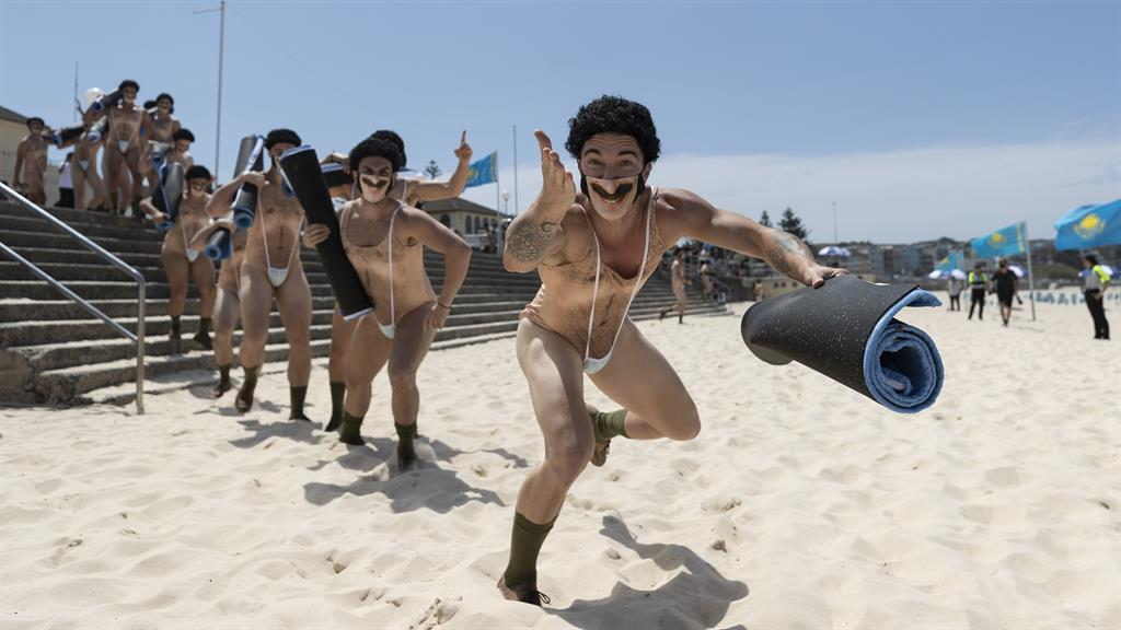 It's all gone beach thong: Forty 'Borats' descending on Bondi yesterday PICTURE: GETTY