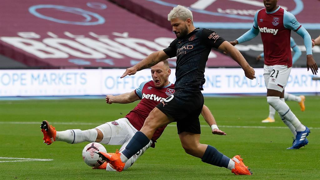 Hammer blow: Aguero was forced off at the break in the 1-1 draw with West Ham PICTURE: GETTY