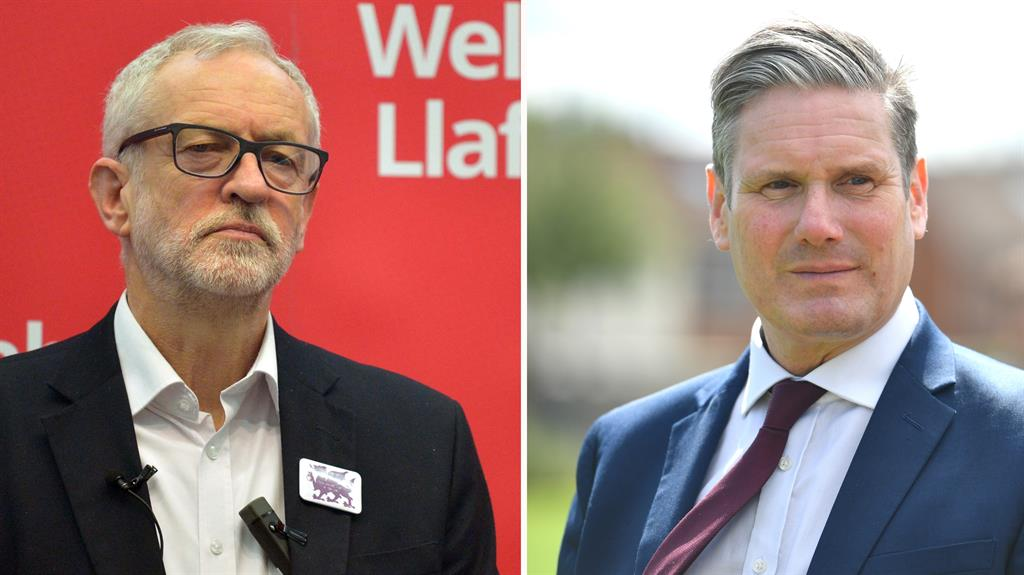 Divisions: Corbyn, left, set back trust in the Labour Party, according to Starmer, right PICTURES: PA