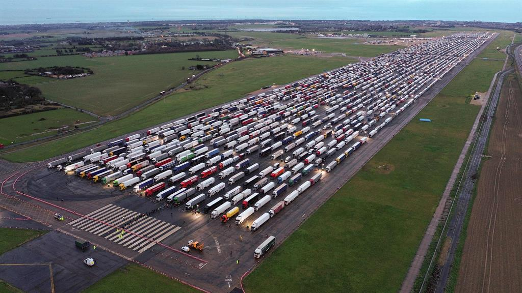 Not set for take off: Trucks could be at RAF Manston airfield in Kent for days PICTURE: GETTY