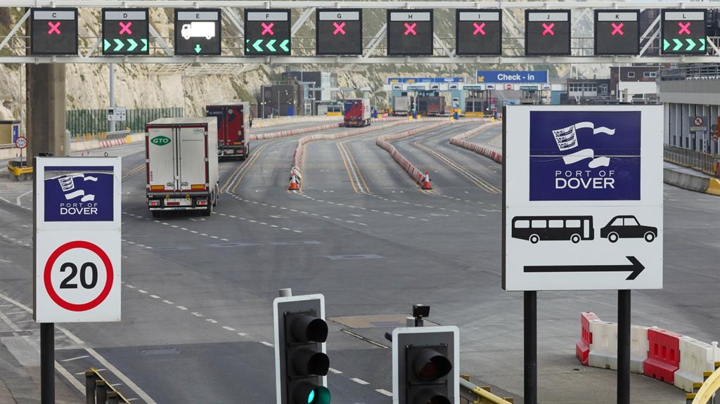 Quiet crossing: Lorries entering the Port of Dover on New Year's Day PICTURE: REX