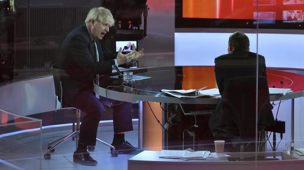 Out of his hands? Boris Johnson on the Andrew Marr Show yesterday PICTURE: BBC/PA