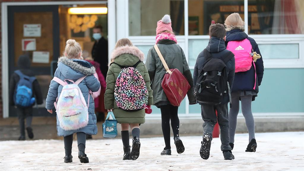 Walking dread: Primary school pupils in Cheshire PICTURE: PA