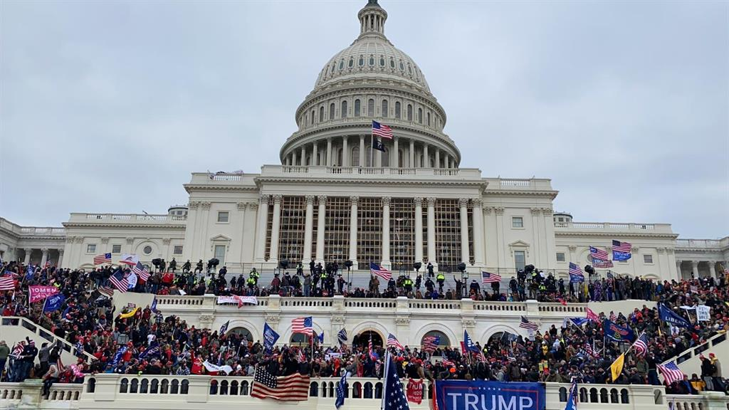 Invasion: Thousands of Trump fanatics fill steps to Capitol building GETTY