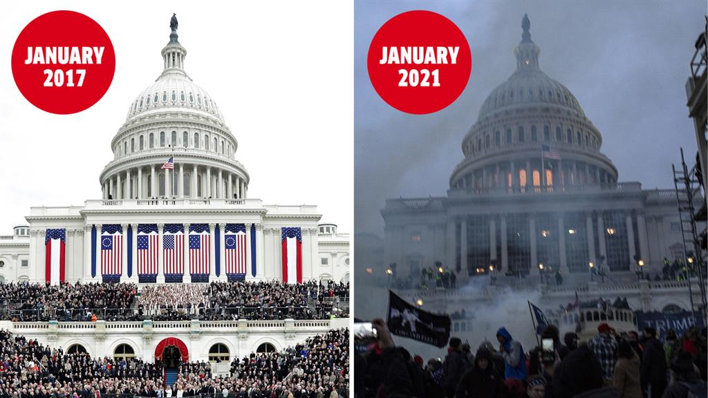 Orderly change vs dark day: All calm as Donald Trump is sworn in (left) while Trump supporters storm the Capitol as he disputes loss (right) PICTURES: GETTY/REX