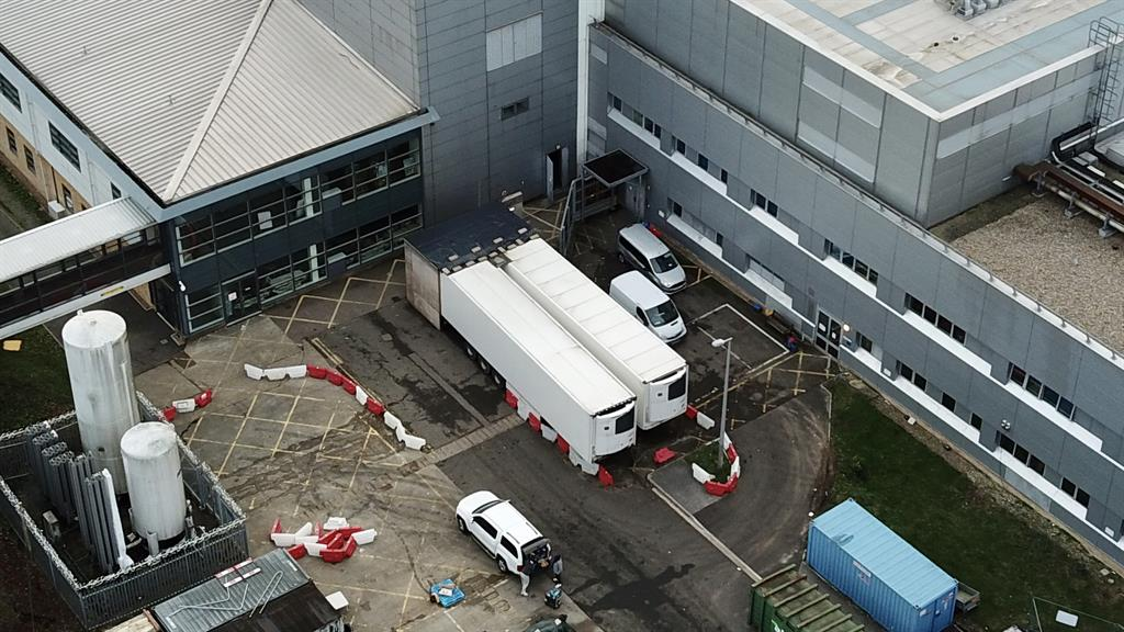 Storage: Darent Valley Hospital in Kent is using refrigerated trucks PICTURE: SPLASHNEWS.COM