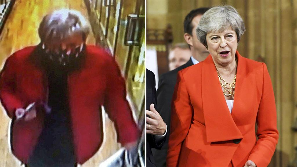 The tea leaf and the Tory: Police released a CCTV still of the thief, who resembles former PM Theresa May (right) PICTURES: SWNS