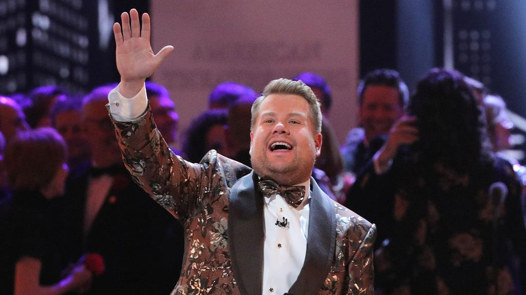 'Gay face': Russell did not approve of James Corden, pictured, 'acting gay' in The Prom PICTURES: REUTERS