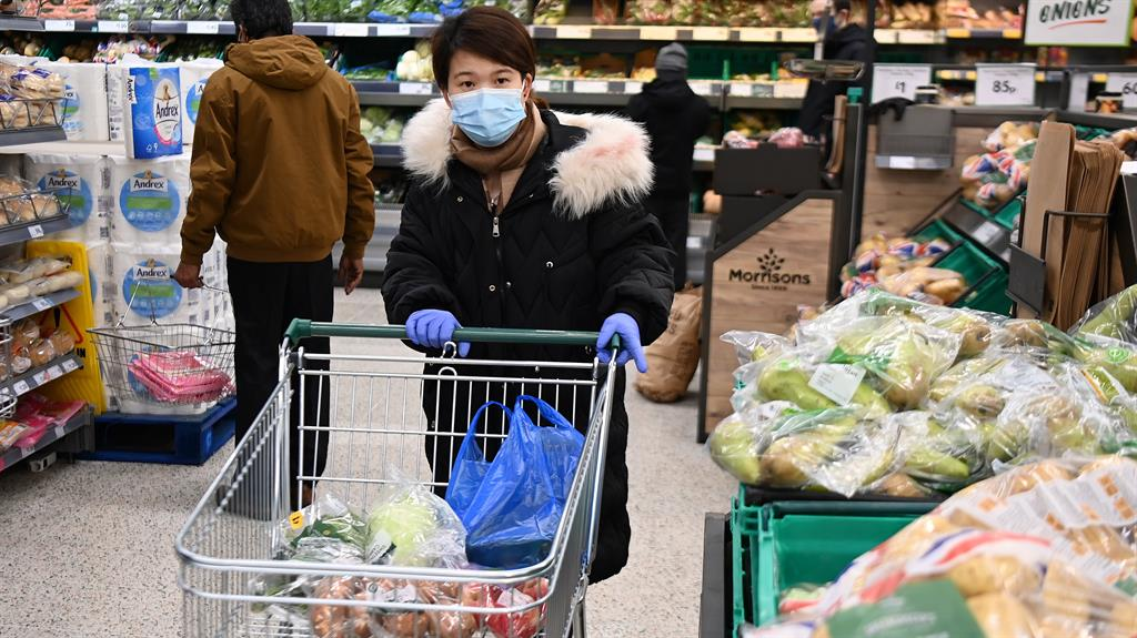 Mask ask: London branch of Morrisons, which is insisting on face coverings PICTURE: EPA